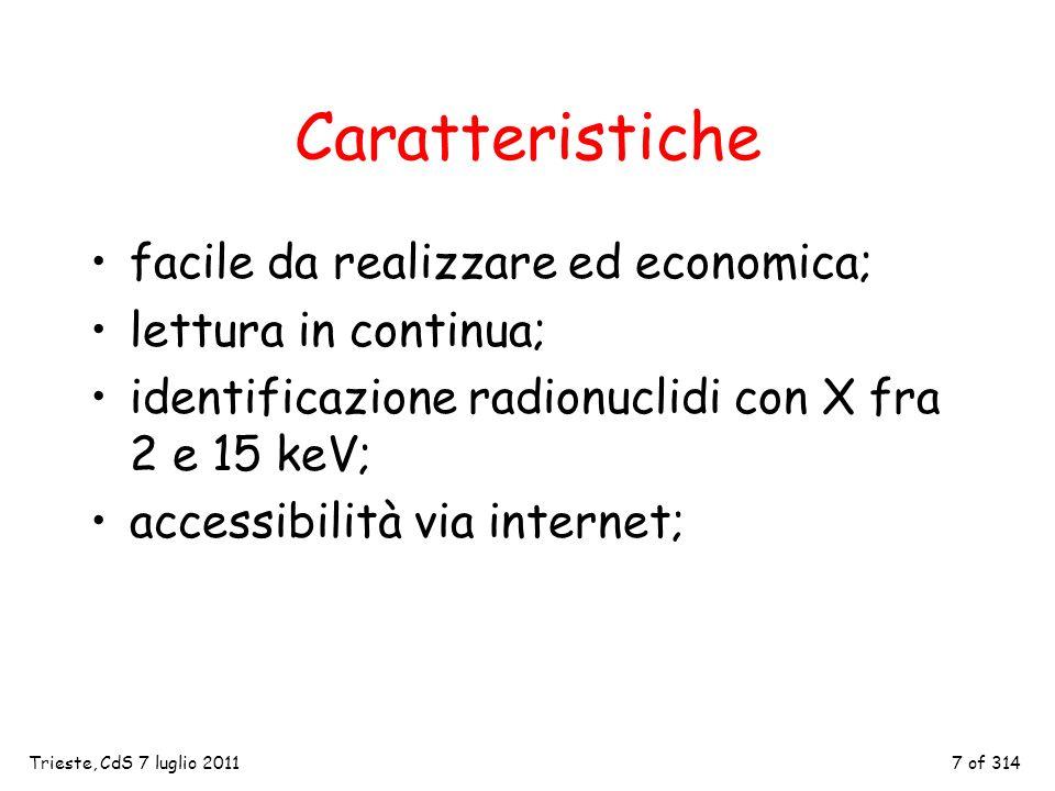7 of 314 Caratteristiche facile da realizzare ed economica; lettura in continua; identificazione radionuclidi con X fra 2 e 15 keV; accessibilità via internet; Trieste, CdS 7 luglio 2011