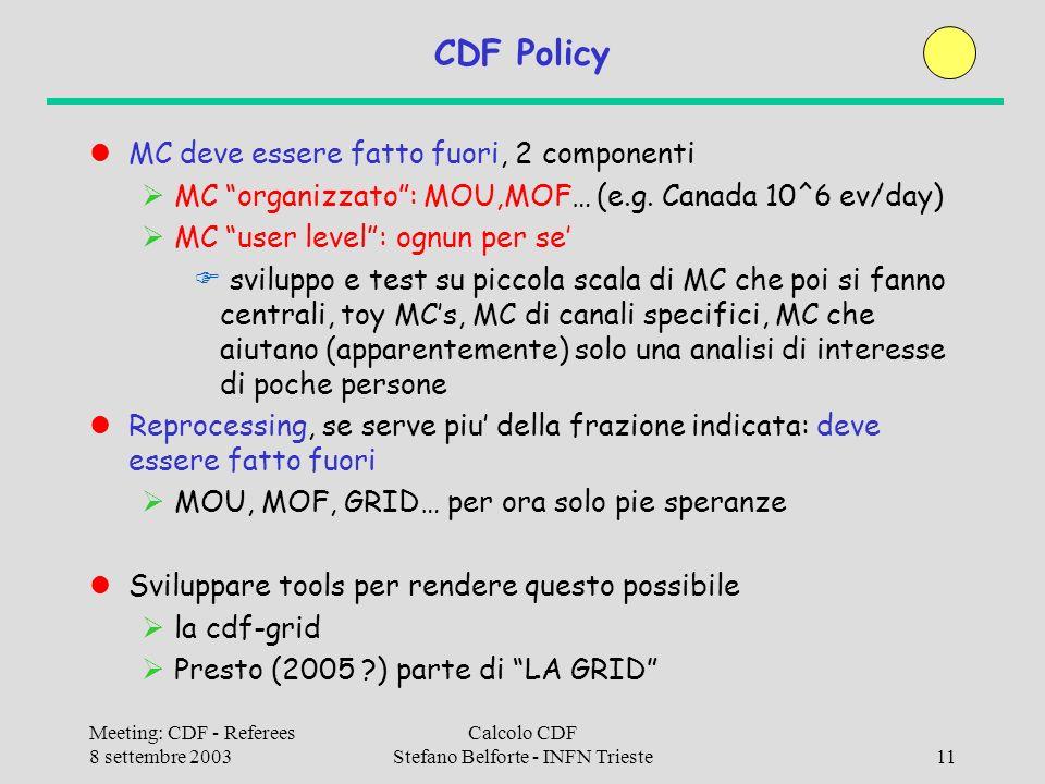 Meeting: CDF - Referees 8 settembre 2003 Calcolo CDF Stefano Belforte - INFN Trieste11 CDF Policy MC deve essere fatto fuori, 2 componenti MC organizzato: MOU,MOF… (e.g.