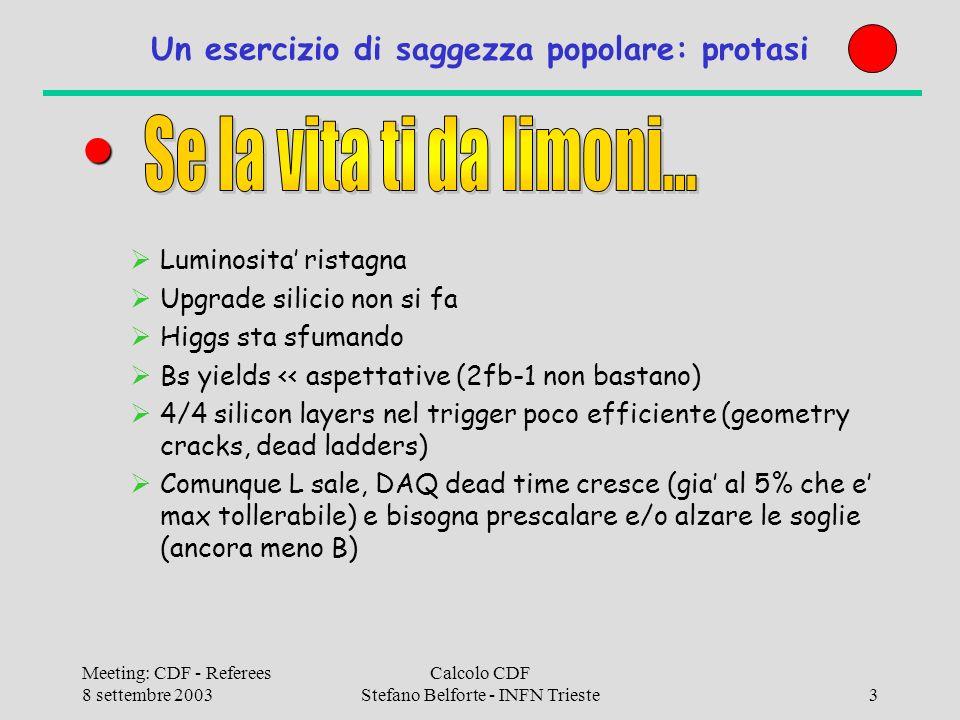 Meeting: CDF - Referees 8 settembre 2003 Calcolo CDF Stefano Belforte - INFN Trieste24 Dettagli 3: 700GHz E una speranza Se 3.5 troppo costoso (vogliamo comprare subito!) si compra 3GHz e totale e 631GHz invece di 700 Analisi: Good old rule: 1GHz/100GB (1 pass/day @ 10Hz) 30TB 300GHz Monte Carlo Bgen: 25K CPU-days, Pythia 100K (?) CPU-days 50K CPU-days @ 2.5GHz = 120K GHz-day 400GHz x 1year (300 days) = 120K GHz-day Siamo nel right ball park N.B.