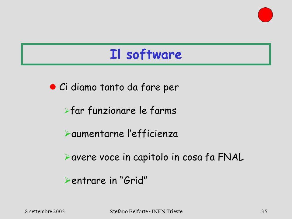 8 settembre 2003Stefano Belforte - INFN Trieste35 Il software Ci diamo tanto da fare per far funzionare le farms aumentarne lefficienza avere voce in capitolo in cosa fa FNAL entrare in Grid