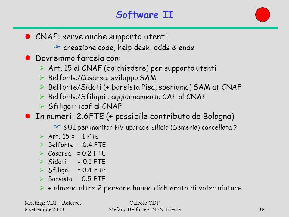 Meeting: CDF - Referees 8 settembre 2003 Calcolo CDF Stefano Belforte - INFN Trieste38 Software II CNAF: serve anche supporto utenti creazione code, help desk, odds & ends Dovremmo farcela con: Art.