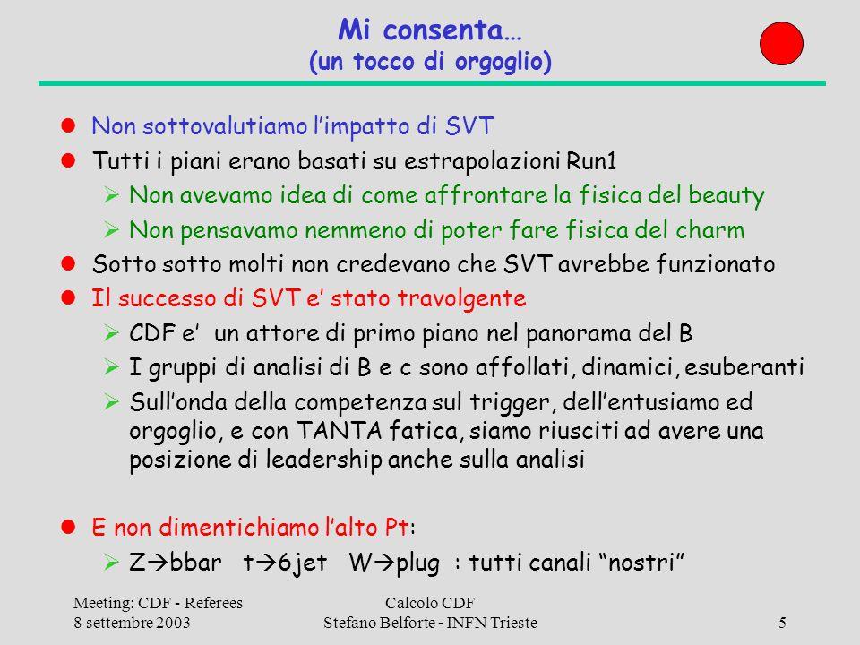 Meeting: CDF - Referees 8 settembre 2003 Calcolo CDF Stefano Belforte - INFN Trieste36 Attivita software farms 2003 Users monitor (Lazzizzera/Amerio – Trento) Monitoraggio operazione batch system ICAF e CAF-mailer (Sfiligoi – LNF) Gestione disco locale e report jobs sulla CAF Condor (Sfiligoi – LNF + Mazzanti/Semeria - Bologna) Transizione batch system FBSNG Condor SAM development (Roberto Rossin – Padova) Agevolazione transizione DFC SAM CAF at CNAF (Belforte - Trieste + Sidoti – Pisa) Installazione, gestione, supporto utenti SAM test and tune (Belforte/Casarsa – Trieste) Installazione in Italia, configurazione, test, documentazione I/O monitor (Armando Fella – Pisa) Monitor I/O nella CAF: wait for tape/cache, MC o Ana etc.