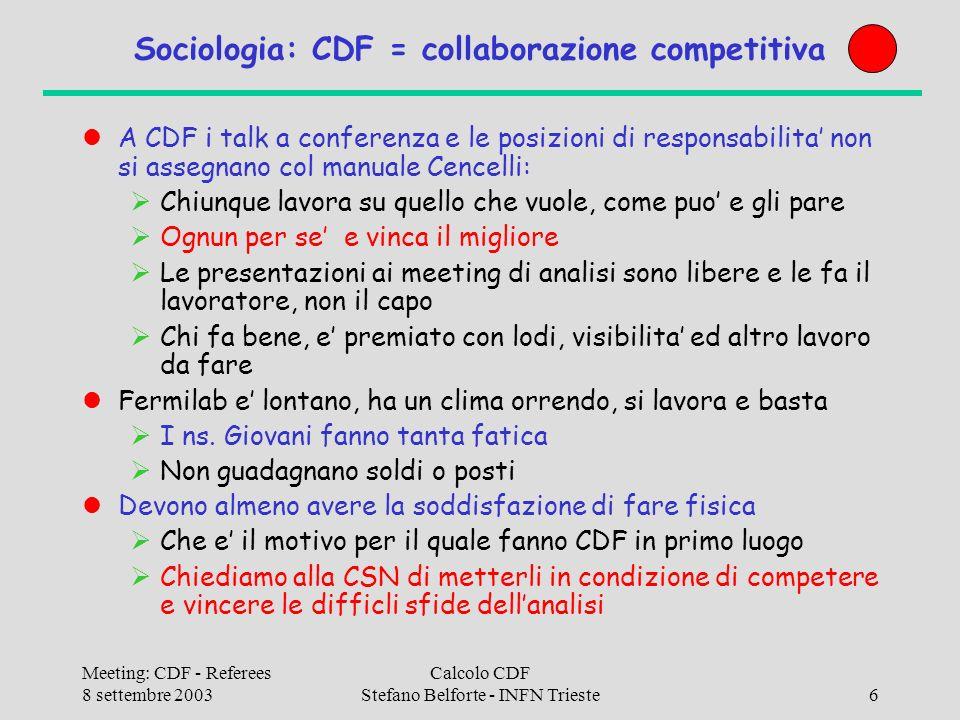 Meeting: CDF - Referees 8 settembre 2003 Calcolo CDF Stefano Belforte - INFN Trieste37 Software I FNAL: Abbiamo investito molto in passato sul monitor CAF (creazione TS/BO), ma non siamo riusciti a rimanerne on top (carenza umana), ci riproviamo per la CAF a Bologna Interactive Grid (Condor+SAM+CAF+Proof): Igor Sfiligoi Ottimo progetto, grandi speranze, grande visibilita e ricaduta.