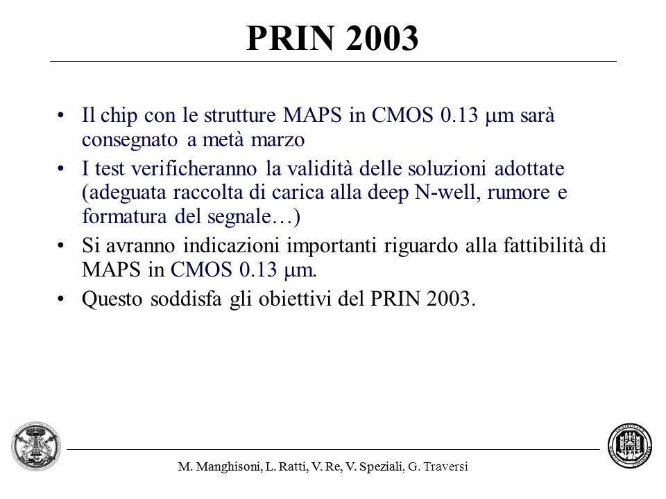 M. Manghisoni, L. Ratti, V. Re, V. Speziali, G. TraversiM. Manghisoni, L. Ratti, V. Re, V. Speziali PRIN 2003 Il chip con le strutture MAPS in CMOS 0.
