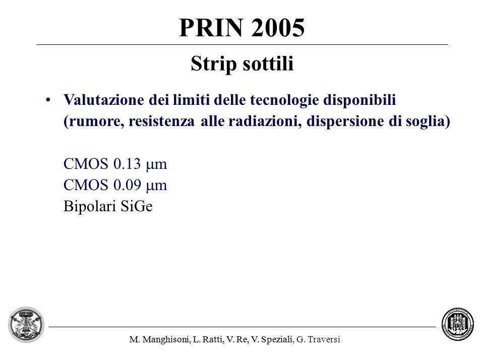 M. Manghisoni, L. Ratti, V. Re, V. Speziali, G. TraversiM. Manghisoni, L. Ratti, V. Re, V. Speziali PRIN 2005 Valutazione dei limiti delle tecnologie