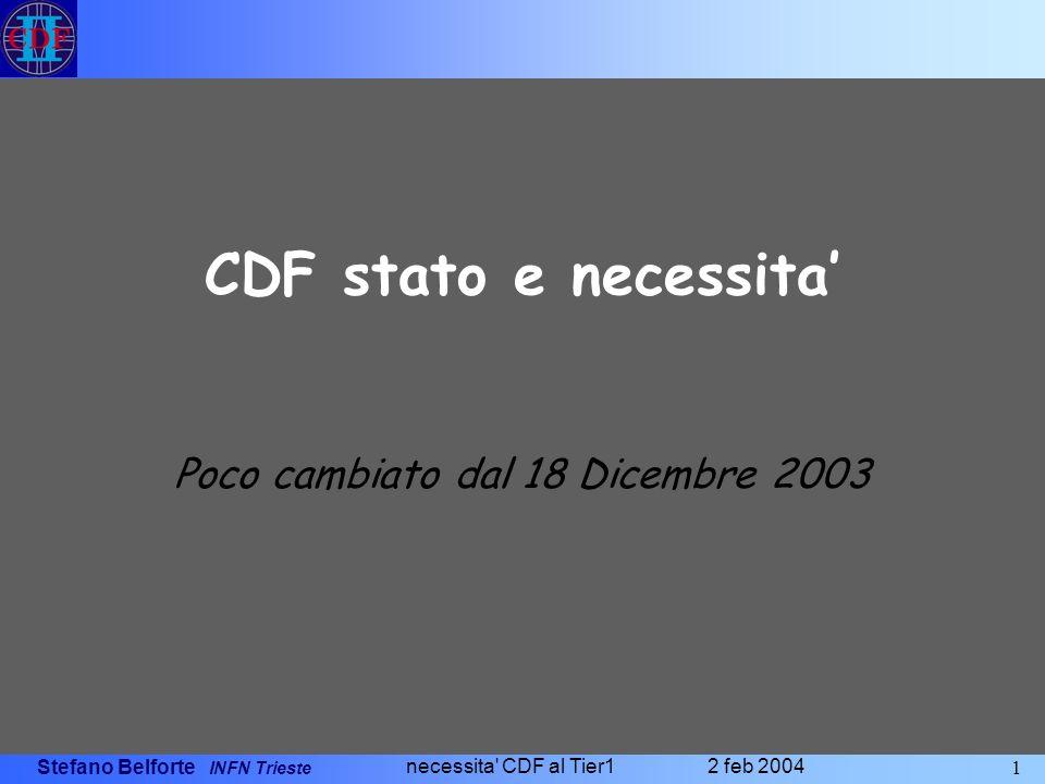 Stefano Belforte INFN Trieste 1 necessita CDF al Tier1 2 feb 2004 CDF stato e necessita Poco cambiato dal 18 Dicembre 2003