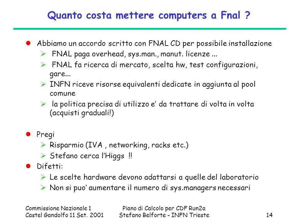 Commissione Nazionale 1 Castel Gandolfo 11 Set. 2001 Piano di Calcolo per CDF Run2a Stefano Belforte - INFN Trieste14 Quanto costa mettere computers a