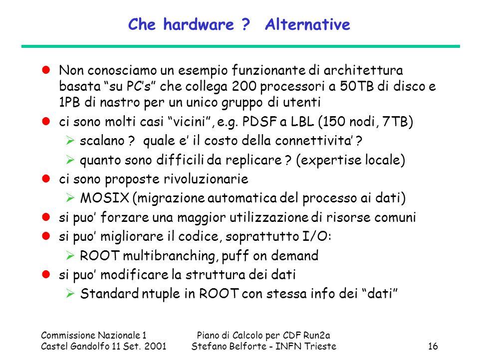 Commissione Nazionale 1 Castel Gandolfo 11 Set. 2001 Piano di Calcolo per CDF Run2a Stefano Belforte - INFN Trieste16 Che hardware ? Alternative Non c