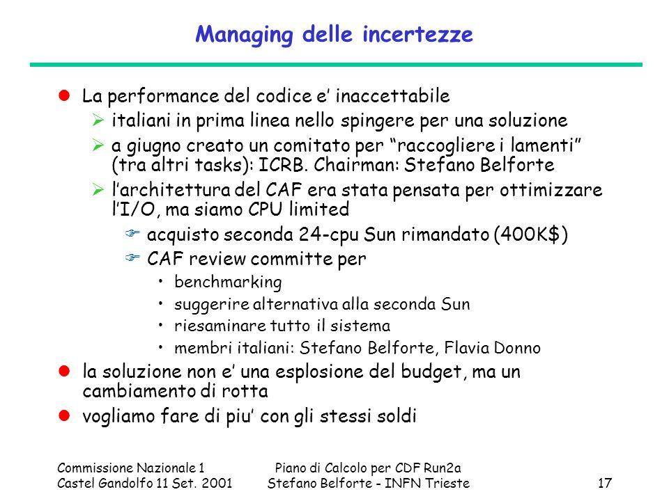 Commissione Nazionale 1 Castel Gandolfo 11 Set. 2001 Piano di Calcolo per CDF Run2a Stefano Belforte - INFN Trieste17 Managing delle incertezze La per