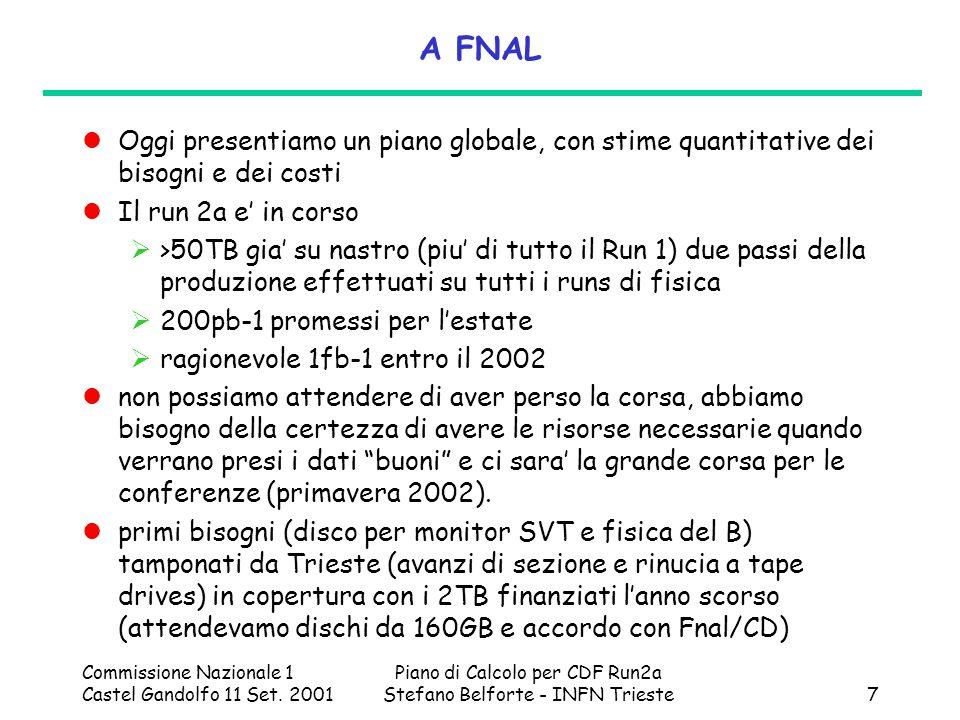 Commissione Nazionale 1 Castel Gandolfo 11 Set. 2001 Piano di Calcolo per CDF Run2a Stefano Belforte - INFN Trieste7 A FNAL Oggi presentiamo un piano