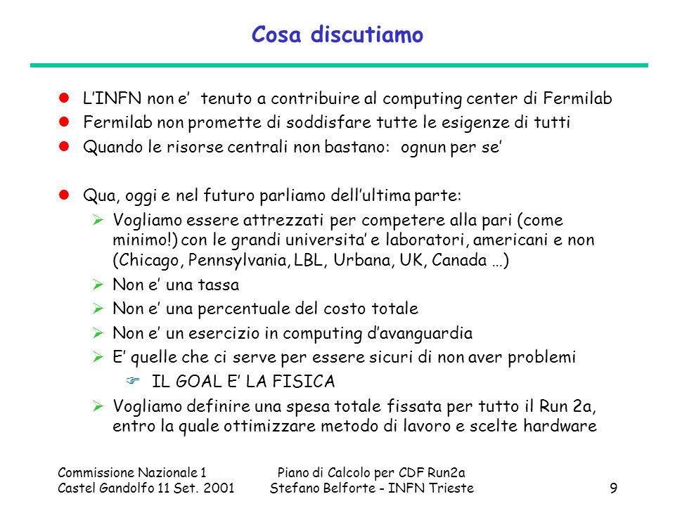 Commissione Nazionale 1 Castel Gandolfo 11 Set. 2001 Piano di Calcolo per CDF Run2a Stefano Belforte - INFN Trieste9 Cosa discutiamo LINFN non e tenut