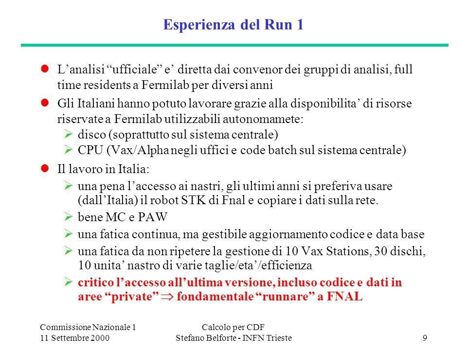 Commissione Nazionale 1 11 Settembre 2000 Calcolo per CDF Stefano Belforte - INFN Trieste10 I contro dellanalisi in Italia Costo economico: robot, nastri, SAN...