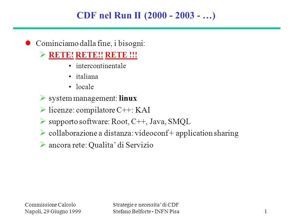 Commissione Calcolo Napoli, 29 Giugno 1999 Strategie e necessita di CDF Stefano Belforte - INFN Pisa1 CDF nel Run II (2000 - 2003 - …) Cominciamo dalla fine, i bisogni: RETE.