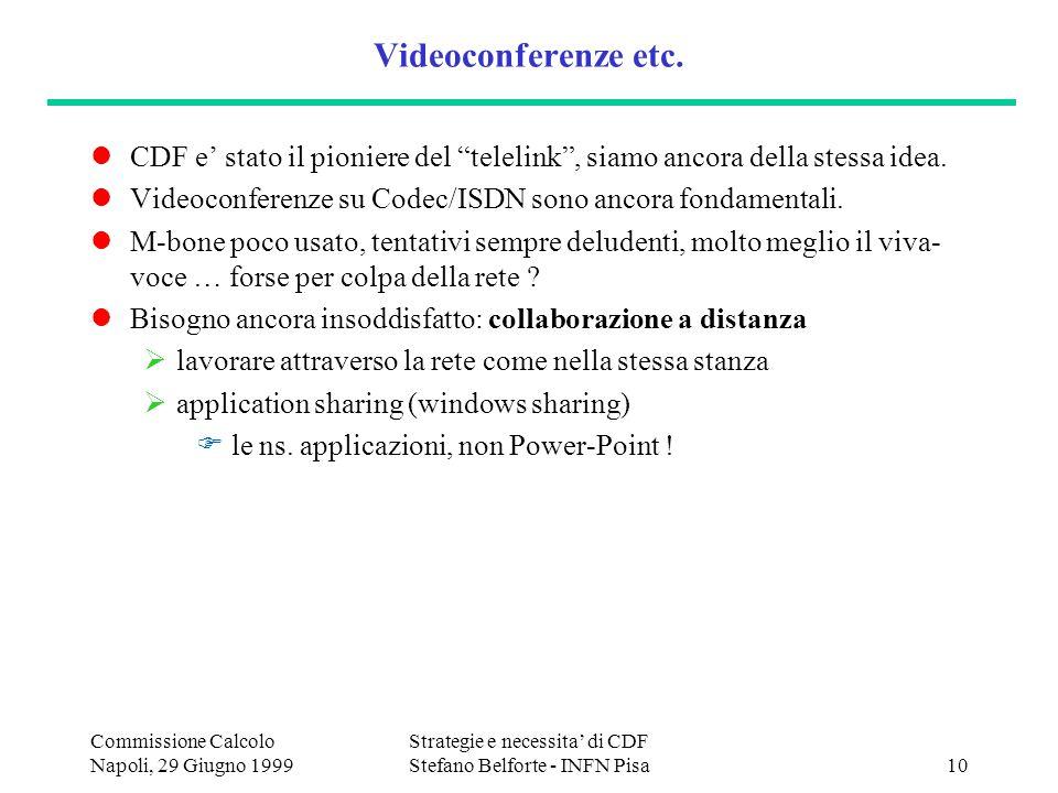 Commissione Calcolo Napoli, 29 Giugno 1999 Strategie e necessita di CDF Stefano Belforte - INFN Pisa10 Videoconferenze etc.