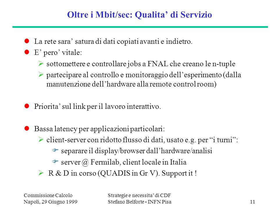 Commissione Calcolo Napoli, 29 Giugno 1999 Strategie e necessita di CDF Stefano Belforte - INFN Pisa11 Oltre i Mbit/sec: Qualita di Servizio La rete sara satura di dati copiati avanti e indietro.