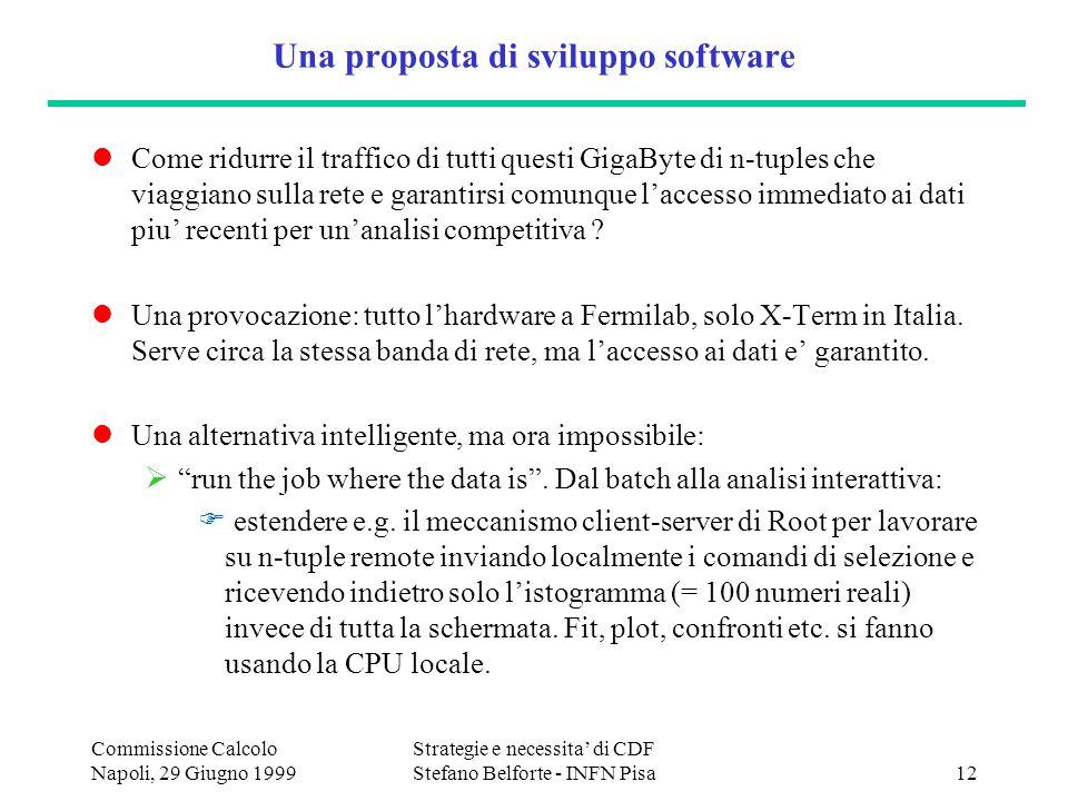 Commissione Calcolo Napoli, 29 Giugno 1999 Strategie e necessita di CDF Stefano Belforte - INFN Pisa12 Una proposta di sviluppo software Come ridurre il traffico di tutti questi GigaByte di n-tuples che viaggiano sulla rete e garantirsi comunque laccesso immediato ai dati piu recenti per unanalisi competitiva .