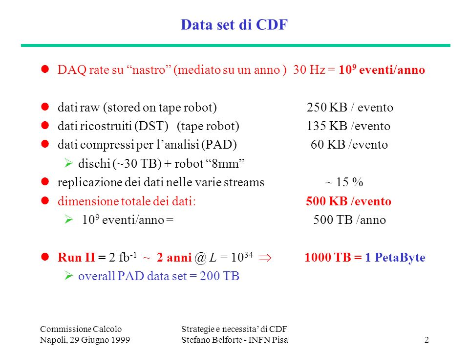 Commissione Calcolo Napoli, 29 Giugno 1999 Strategie e necessita di CDF Stefano Belforte - INFN Pisa2 Data set di CDF DAQ rate su nastro (mediato su un anno ) 30 Hz = 10 9 eventi/anno dati raw (stored on tape robot) 250 KB / evento dati ricostruiti (DST) (tape robot) 135 KB /evento dati compressi per lanalisi (PAD) 60 KB /evento dischi (~30 TB) + robot 8mm replicazione dei dati nelle varie streams ~ 15 % dimensione totale dei dati: 500 KB /evento 10 9 eventi/anno = 500 TB /anno Run II = 2 fb -1 ~ 2 anni @ L = 10 34 1000 TB = 1 PetaByte overall PAD data set = 200 TB