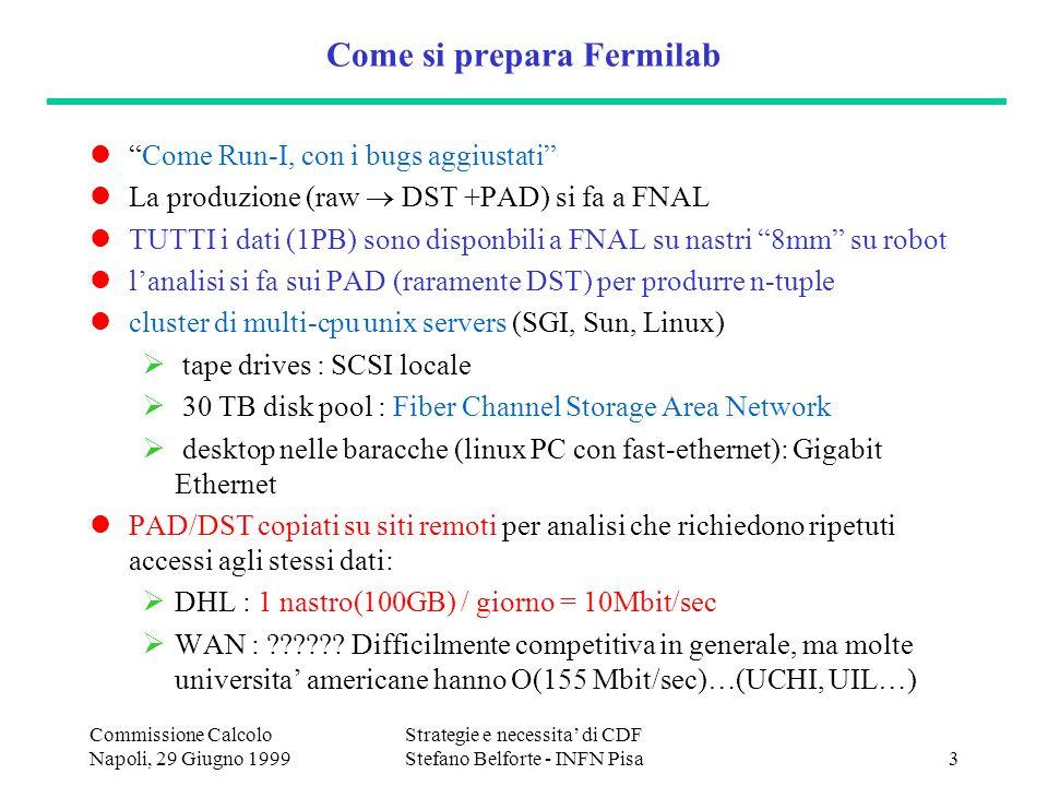 Commissione Calcolo Napoli, 29 Giugno 1999 Strategie e necessita di CDF Stefano Belforte - INFN Pisa3 Come si prepara Fermilab Come Run-I, con i bugs aggiustati La produzione (raw DST +PAD) si fa a FNAL TUTTI i dati (1PB) sono disponbili a FNAL su nastri 8mm su robot lanalisi si fa sui PAD (raramente DST) per produrre n-tuple cluster di multi-cpu unix servers (SGI, Sun, Linux) tape drives : SCSI locale 30 TB disk pool : Fiber Channel Storage Area Network desktop nelle baracche (linux PC con fast-ethernet): Gigabit Ethernet PAD/DST copiati su siti remoti per analisi che richiedono ripetuti accessi agli stessi dati: DHL : 1 nastro(100GB) / giorno = 10Mbit/sec WAN : .