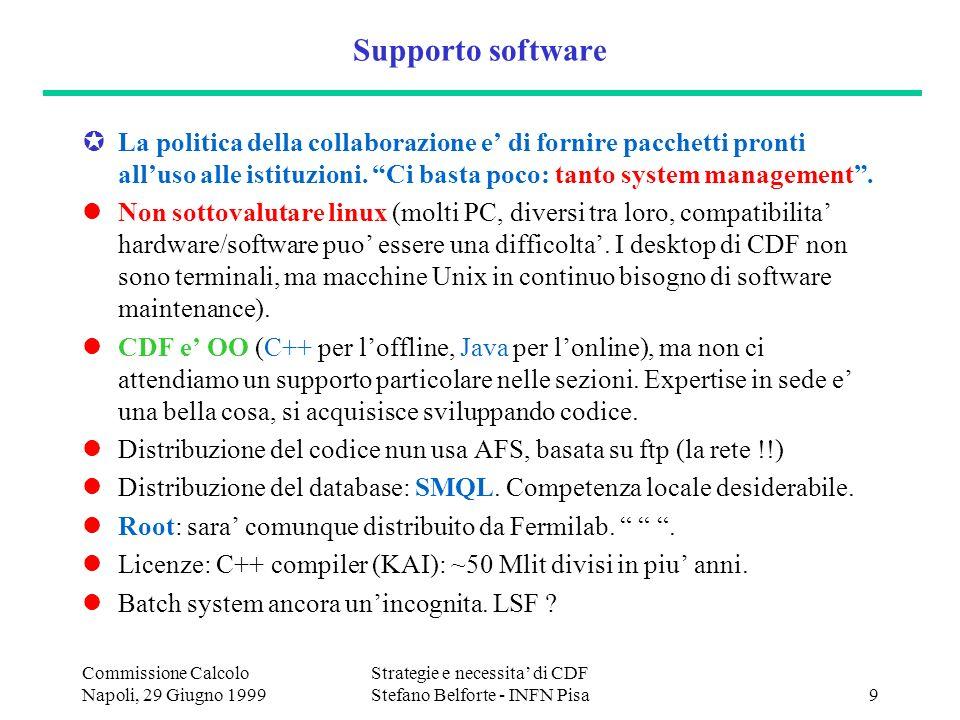 Commissione Calcolo Napoli, 29 Giugno 1999 Strategie e necessita di CDF Stefano Belforte - INFN Pisa9 Supporto software La politica della collaborazione e di fornire pacchetti pronti alluso alle istituzioni.