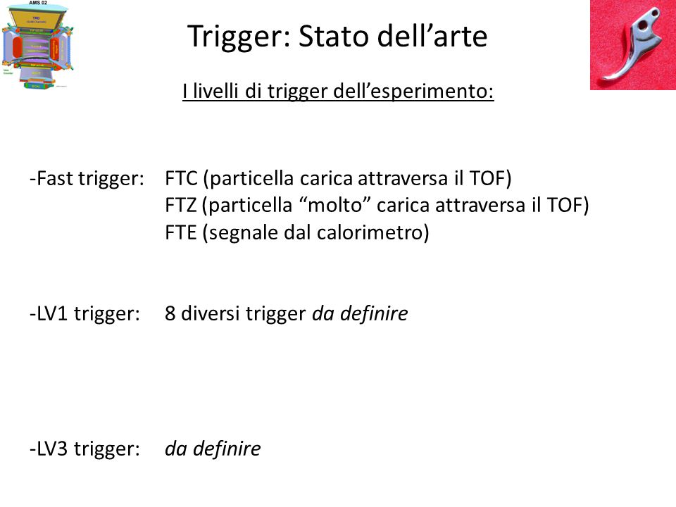 Trigger: Stato dellarte Simulazioni MC fatte in passato (con trigger proposto): Choutko 02 Trigger (various type) Efficiency vs Rigidity for: e, He, Li
