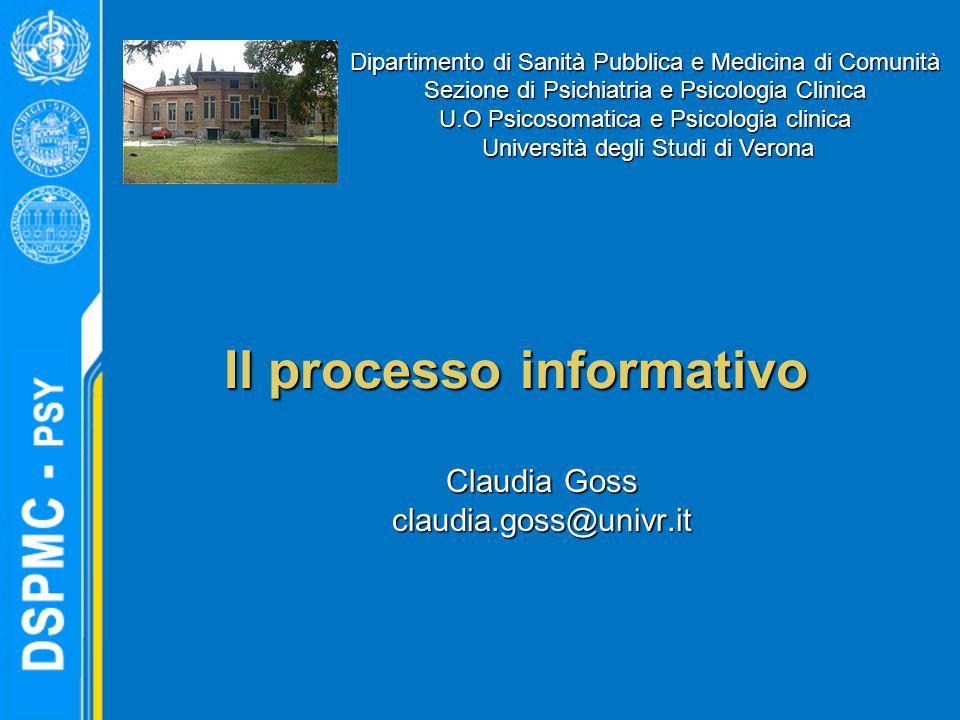 Il processo informativo Claudia Goss claudia.goss@univr.it Dipartimento di Sanità Pubblica e Medicina di Comunità Sezione di Psichiatria e Psicologia