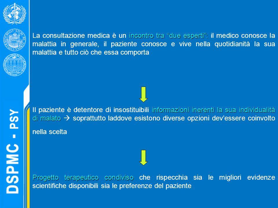 incontro tra due esperti: La consultazione medica è un incontro tra due esperti: il medico conosce la malattia in generale, il paziente conosce e vive