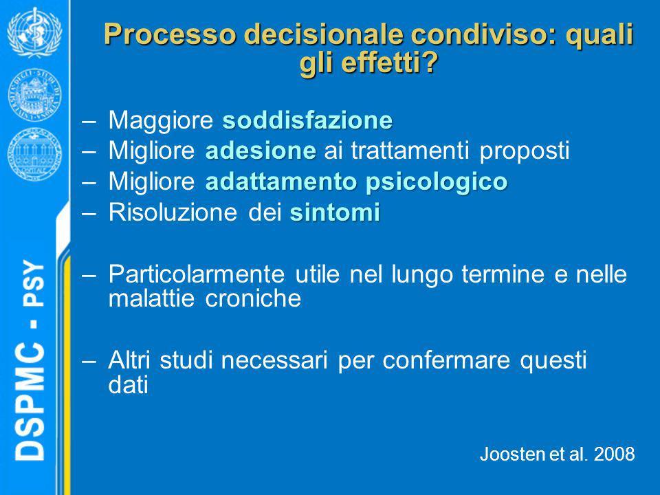 Processo decisionale condiviso: quali gli effetti? soddisfazione –Maggiore soddisfazione adesione –Migliore adesione ai trattamenti proposti adattamen