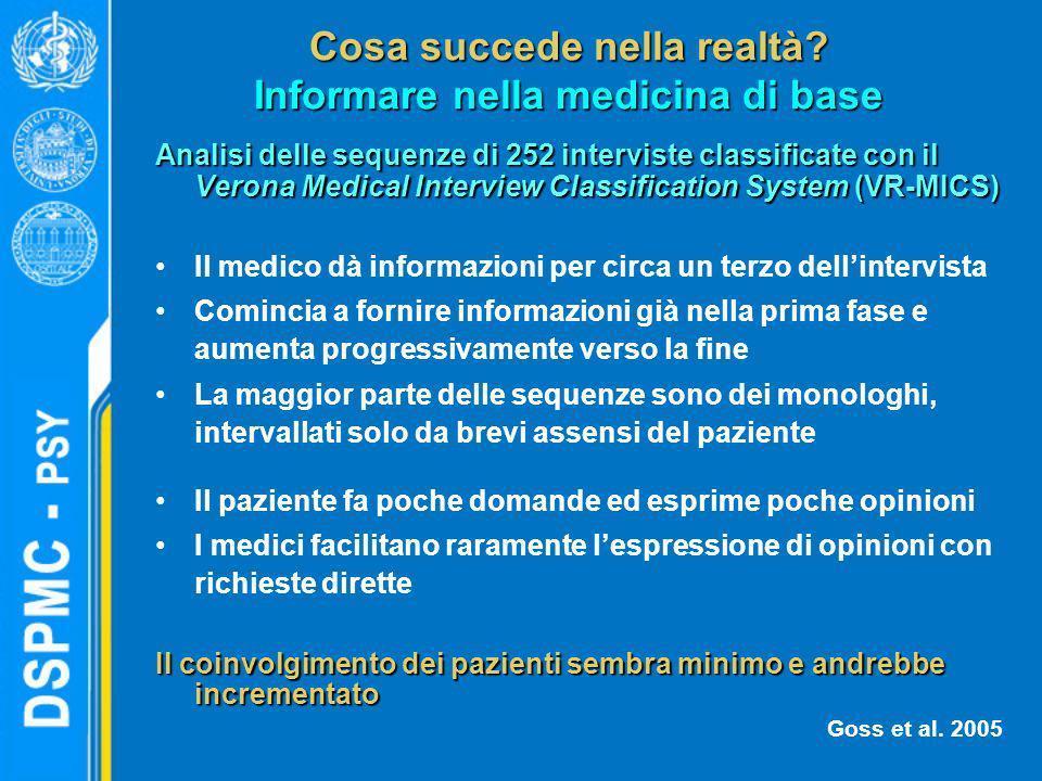 Cosa succede nella realtà? Informare nella medicina di base Analisi delle sequenze di 252 interviste classificate con il Verona Medical Interview Clas