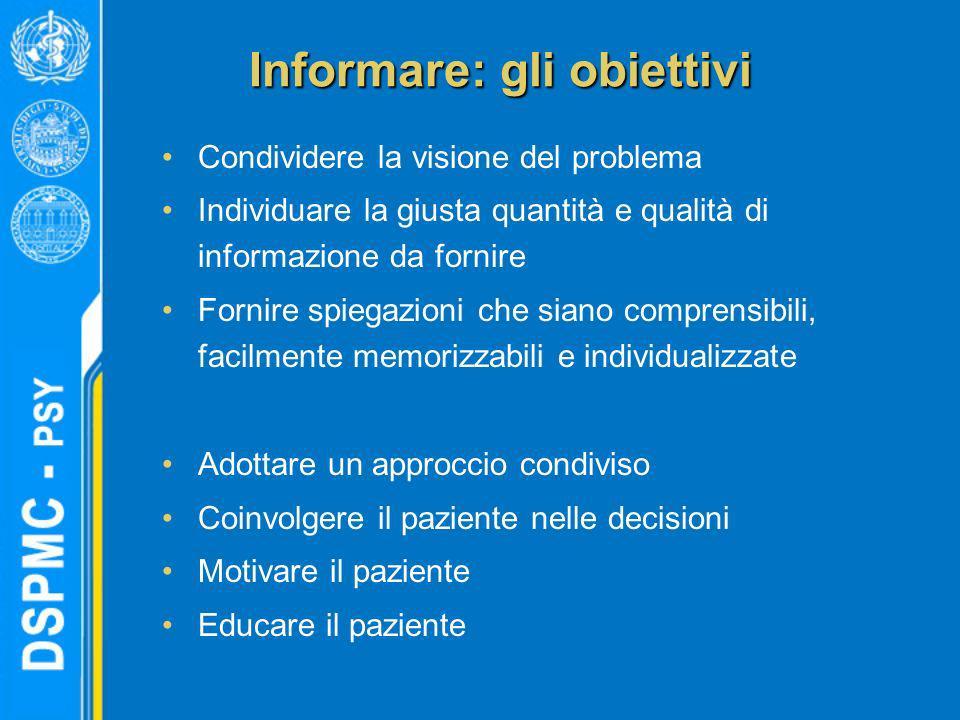 Informare: gli obiettivi Condividere la visione del problema Individuare la giusta quantità e qualità di informazione da fornire Fornire spiegazioni c