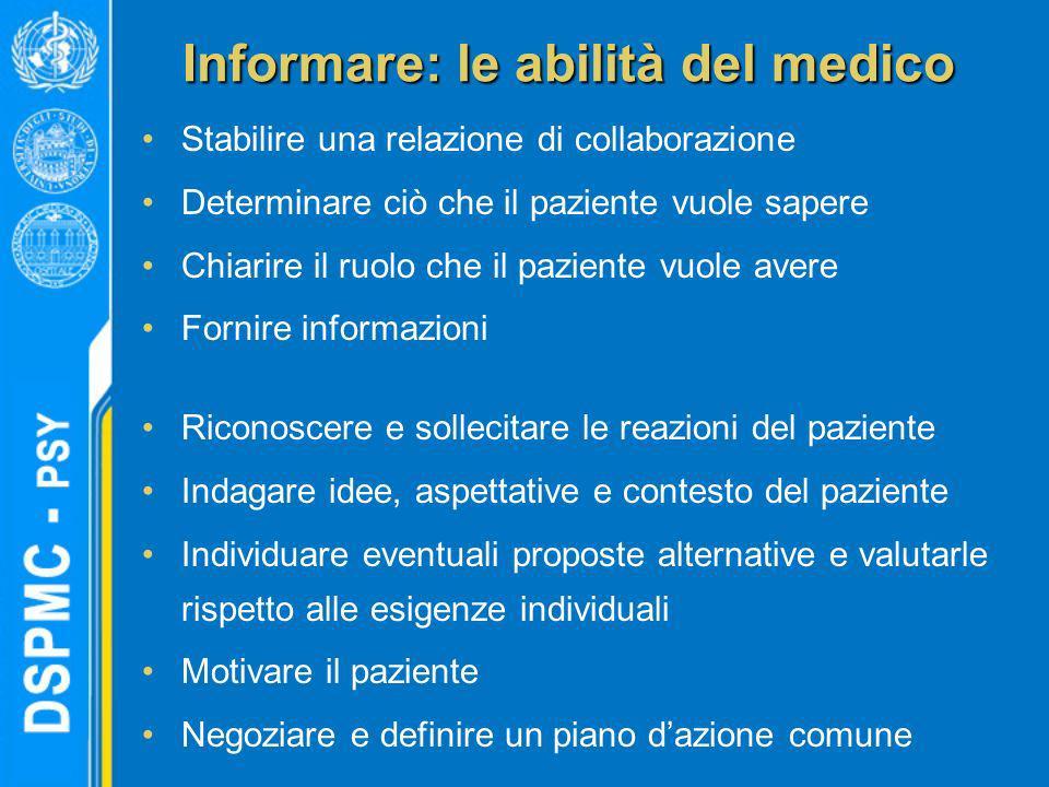 Informare: le abilità del medico Stabilire una relazione di collaborazione Determinare ciò che il paziente vuole sapere Chiarire il ruolo che il pazie