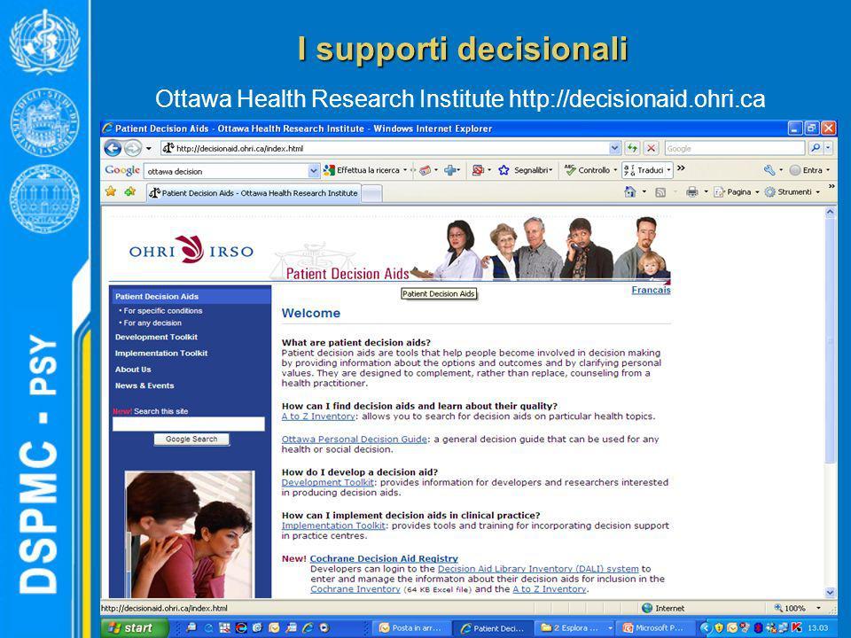 I supporti decisionali Ottawa Health Research Institute http://decisionaid.ohri.ca