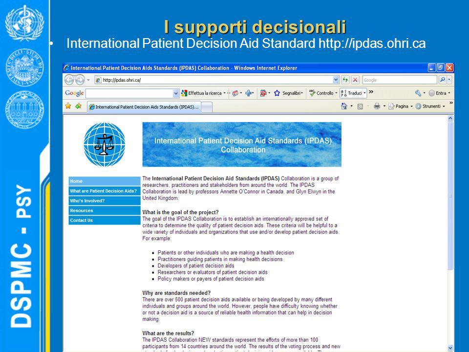 I supporti decisionali International Patient Decision Aid Standard http://ipdas.ohri.ca