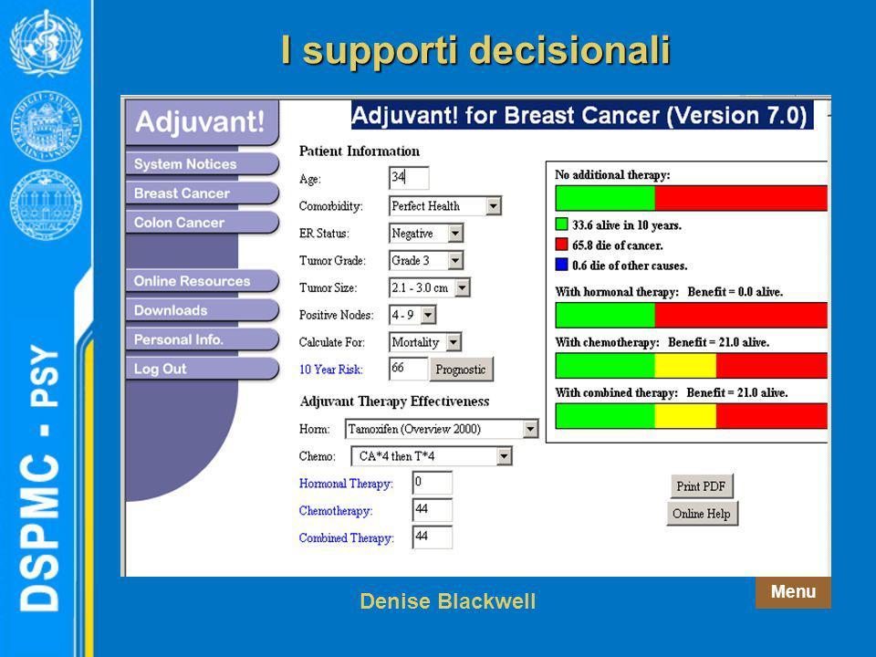 Menu Denise Blackwell I supporti decisionali