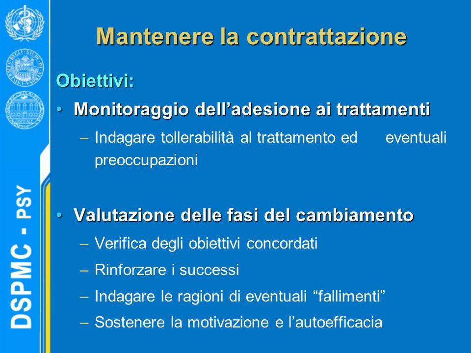Mantenere la contrattazione Obiettivi: Monitoraggio delladesione ai trattamentiMonitoraggio delladesione ai trattamenti –Indagare tollerabilità al tra