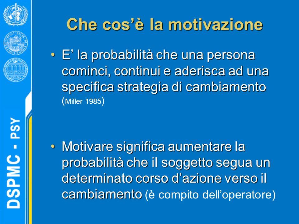 Che cosè la motivazione E la probabilità che una persona cominci, continui e aderisca ad una specifica strategia di cambiamentoE la probabilità che un