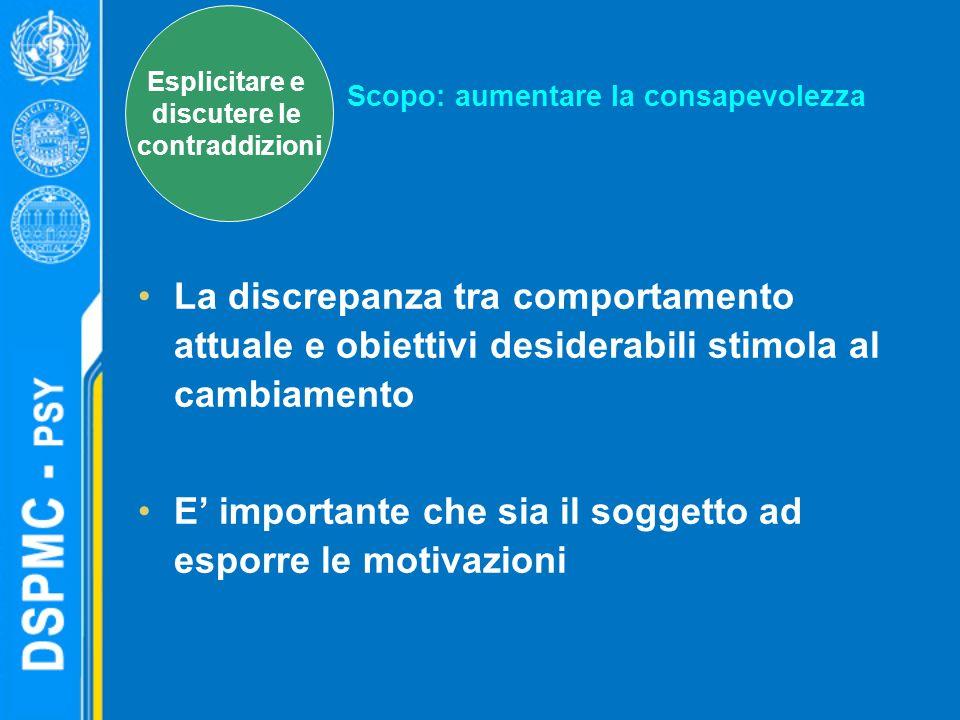 La discrepanza tra comportamento attuale e obiettivi desiderabili stimola al cambiamento E importante che sia il soggetto ad esporre le motivazioni Sc