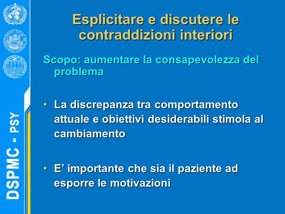Esplicitare e discutere le contraddizioni interiori Scopo: aumentare la consapevolezza del problema La discrepanza tra comportamento attuale e obietti
