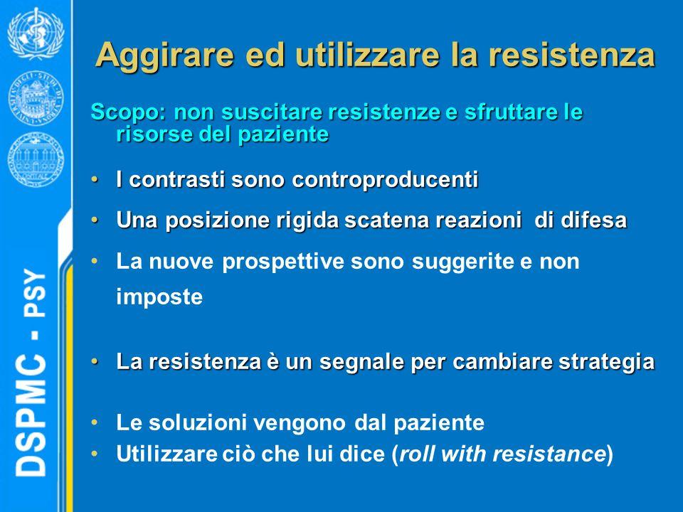 Aggirare ed utilizzare la resistenza Scopo: non suscitare resistenze e sfruttare le risorse del paziente I contrasti sono controproducentiI contrasti