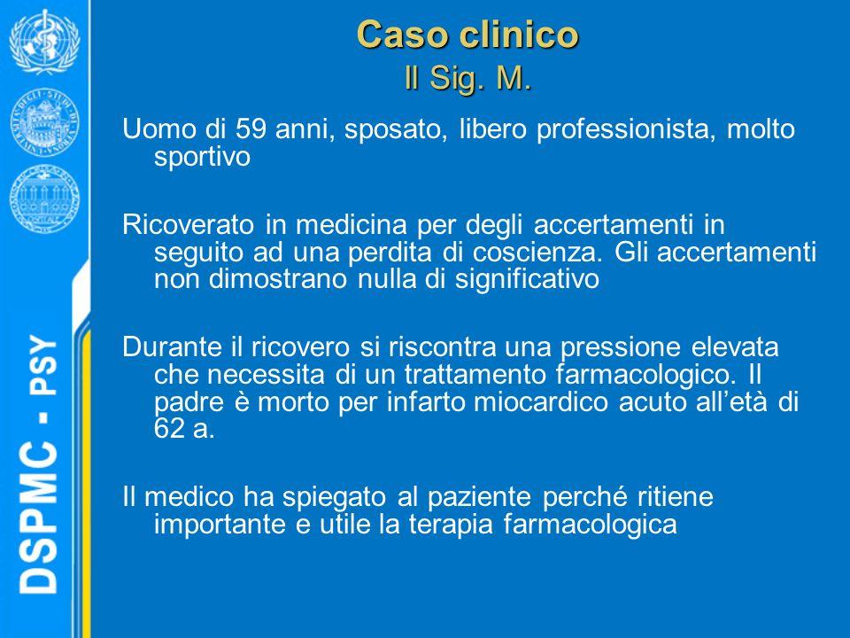 Caso clinico Il Sig. M. Uomo di 59 anni, sposato, libero professionista, molto sportivo Ricoverato in medicina per degli accertamenti in seguito ad un