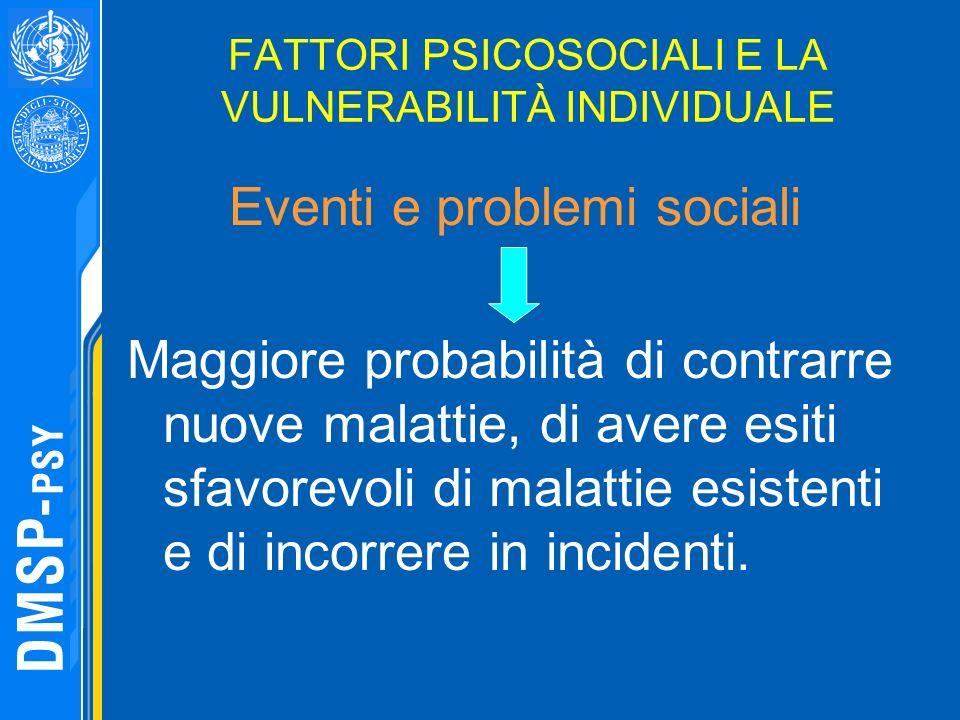 FATTORI PSICOSOCIALI E LA VULNERABILITÀ INDIVIDUALE Eventi e problemi sociali Maggiore probabilità di contrarre nuove malattie, di avere esiti sfavore