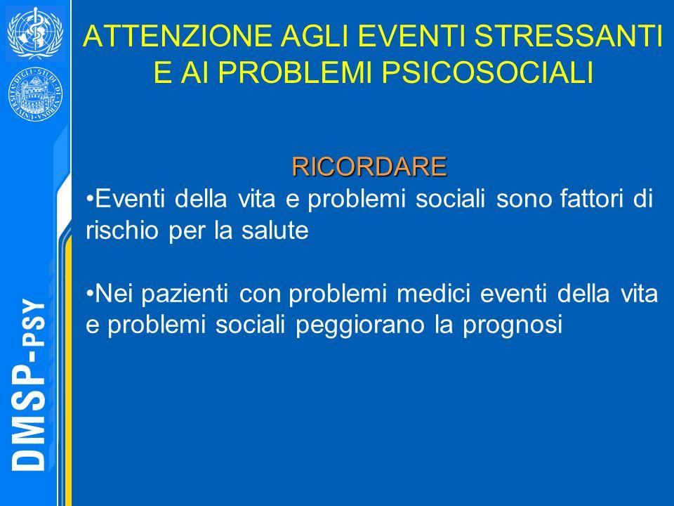 ATTENZIONE AGLI EVENTI STRESSANTI E AI PROBLEMI PSICOSOCIALI RICORDARE RICORDARE Eventi della vita e problemi sociali sono fattori di rischio per la s