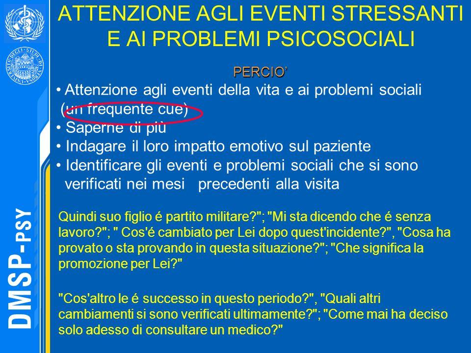 ATTENZIONE AGLI EVENTI STRESSANTI E AI PROBLEMI PSICOSOCIALI PERCIO PERCIO Attenzione agli eventi della vita e ai problemi sociali (un frequente cue)