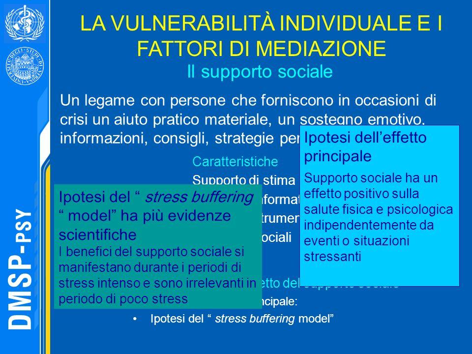 Il supporto sociale Due ipotesi sulleffetto del supporto sociale Ipotesi delleffetto principale: Ipotesi del stress buffering model LA VULNERABILITÀ I