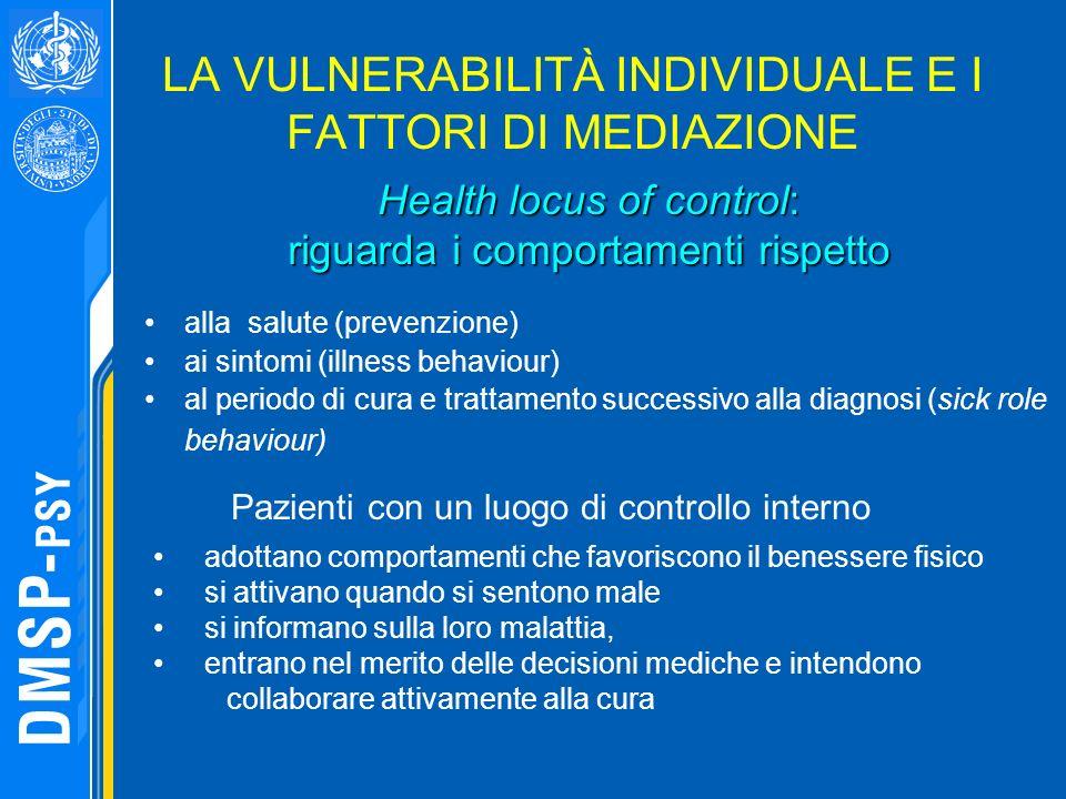 LA VULNERABILITÀ INDIVIDUALE E I FATTORI DI MEDIAZIONE alla salute (prevenzione) ai sintomi (illness behaviour) al periodo di cura e trattamento succe