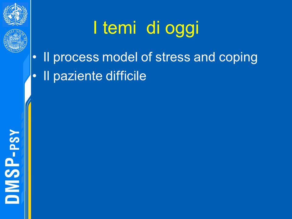 I temi di oggi Il process model of stress and coping Il paziente difficile