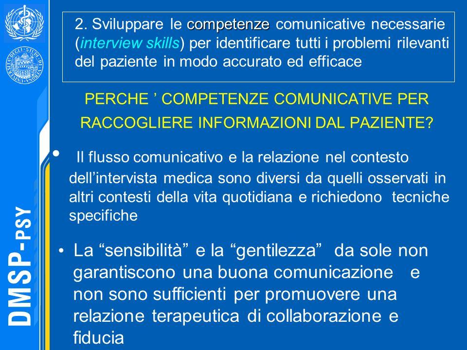 PERCHE COMPETENZE COMUNICATIVE PER RACCOGLIERE INFORMAZIONI DAL PAZIENTE? Il flusso comunicativo e la relazione nel contesto dellintervista medica son
