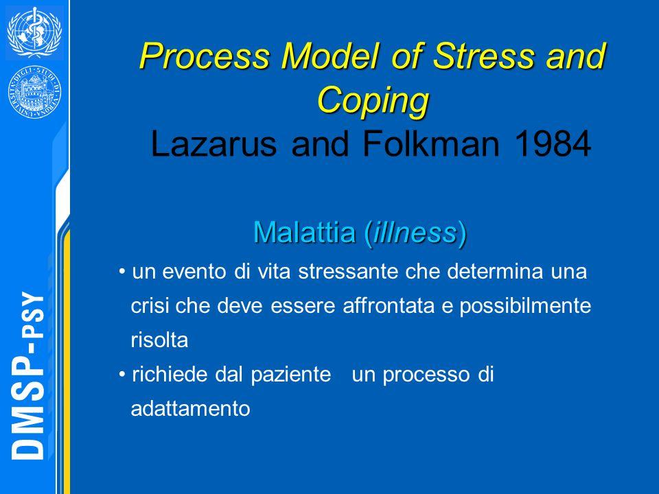Malattia (illness) un evento di vita stressante che determina una crisi che deve essere affrontata e possibilmente risolta richiede dal paziente un pr