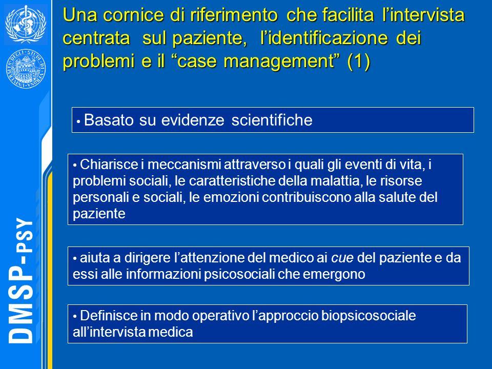 Una cornice di riferimento che facilita lintervista centrata sul paziente, lidentificazione dei problemi e il case management (1) Basato su evidenze s