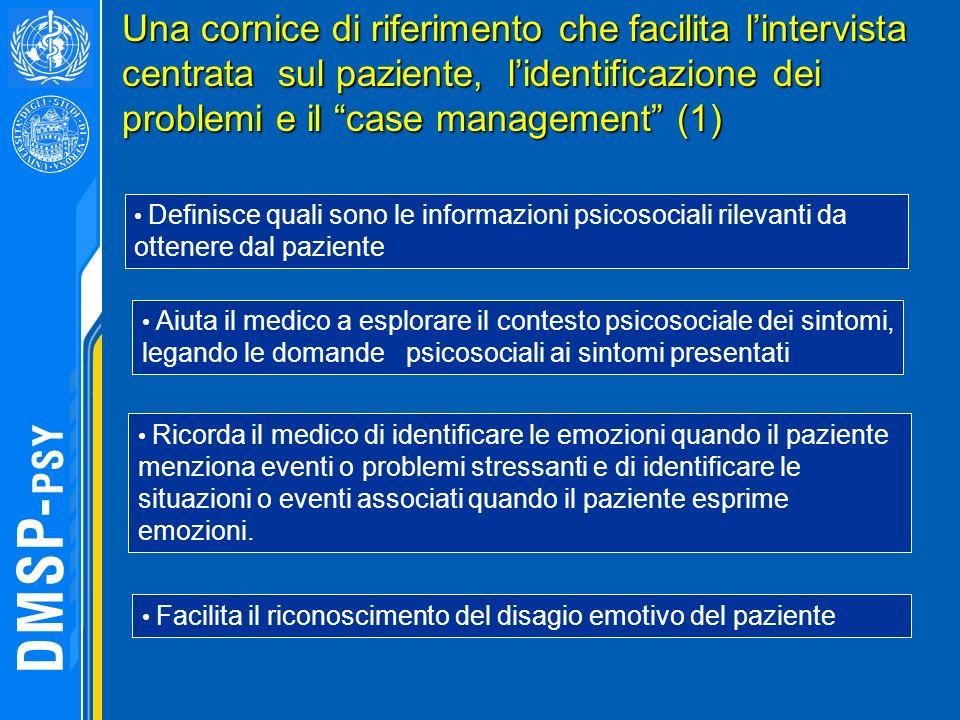 Una cornice di riferimento che facilita lintervista centrata sul paziente, lidentificazione dei problemi e il case management (1) Definisce quali sono