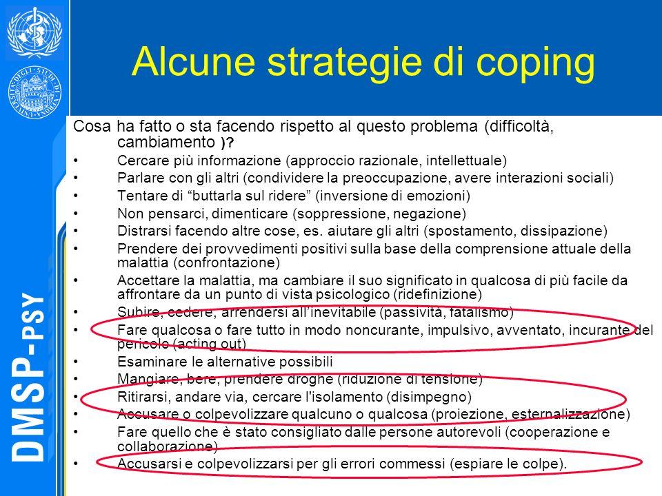 Alcune strategie di coping Cosa ha fatto o sta facendo rispetto al questo problema (difficoltà, cambiamento )? Cercare più informazione (approccio raz